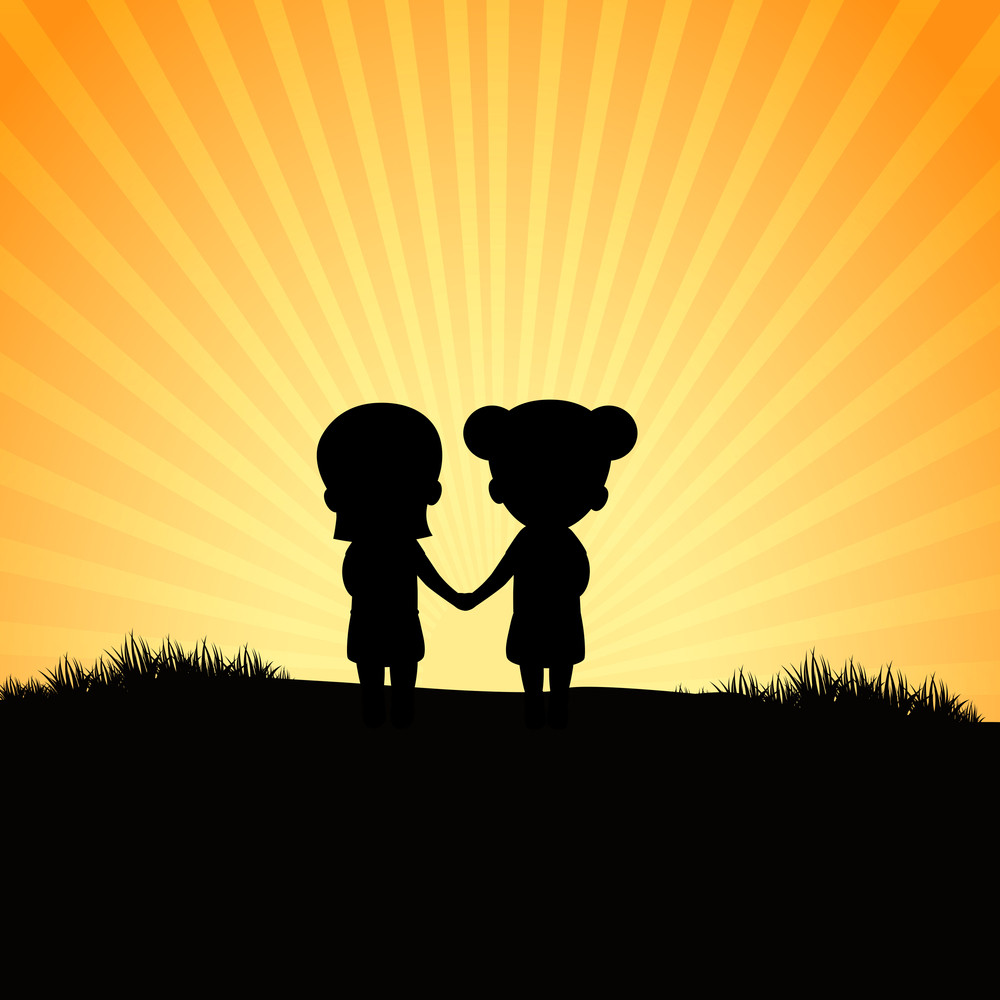 Happy Friendship Day Concept With Silhouette Of Two Girls On Sunny Background