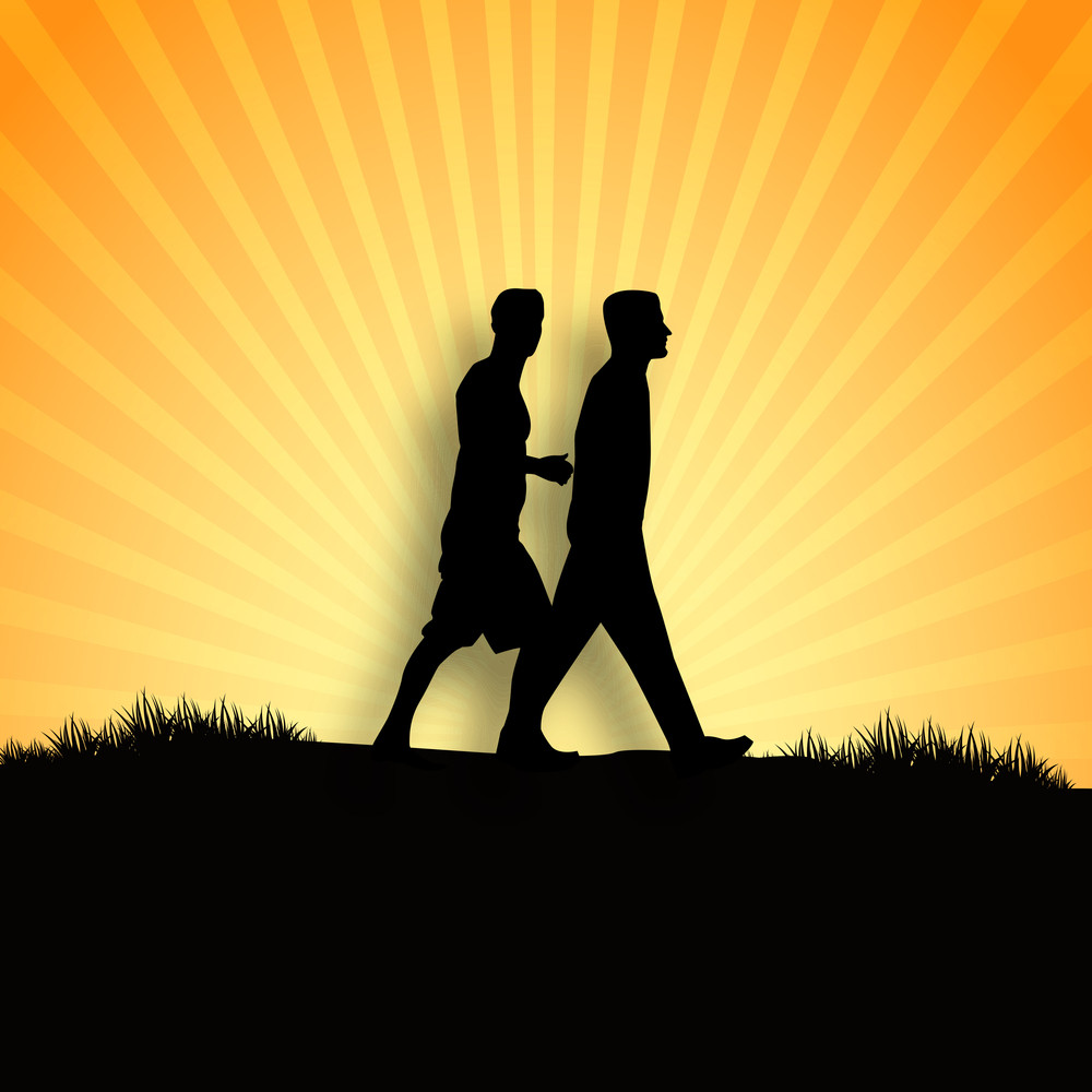 Happy Friendship Day Concept With Silhouette Of Young Boys On Rays Background.