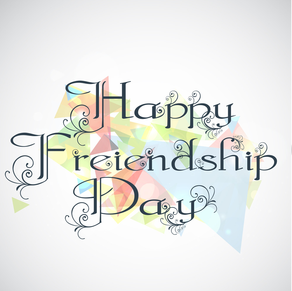 Happy Friendship Day Concept With Stylish Floral Decorated Text On Grey Background.