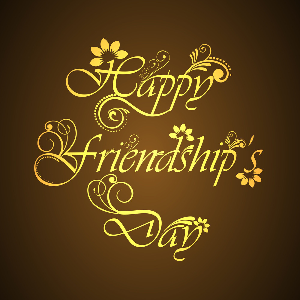 Happy Friendship Day Concept With Stylish Golden Text On Brown Background.