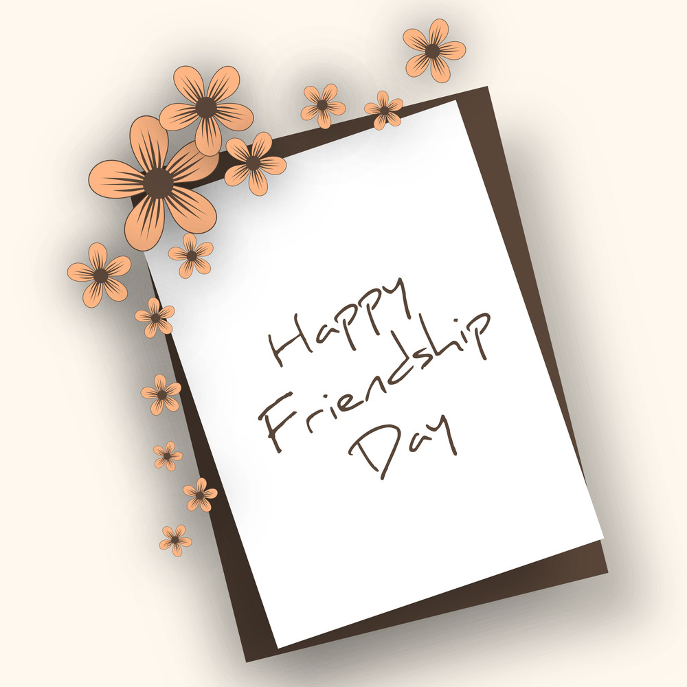 Happy Friendship Day Concept With Stylish Text And Flowers On Abstract Background.
