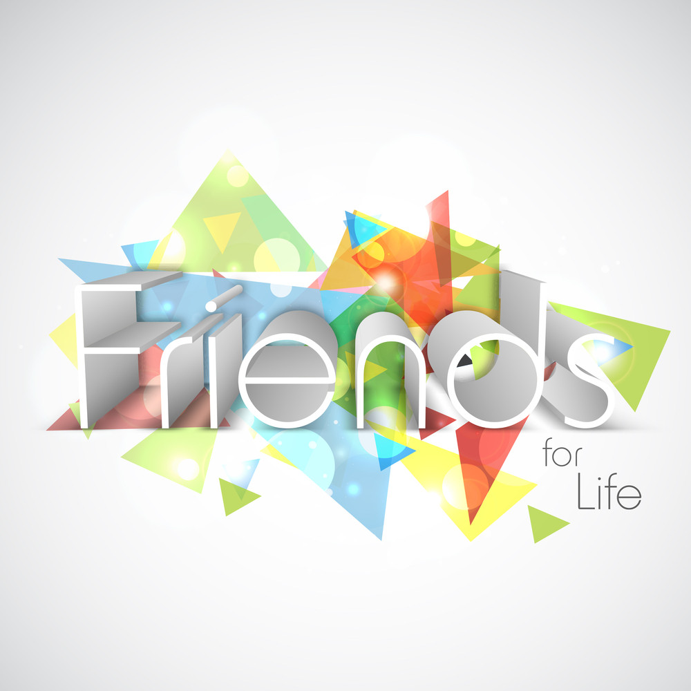 Happy Friendship Day Concept With Stylish Text On Colorful Background.
