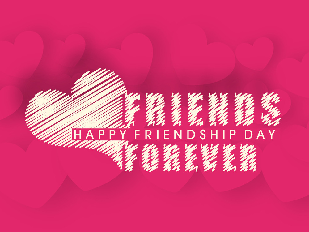 Happy Friendship Day Concept With Text Friends Forever On Pink Heart Background