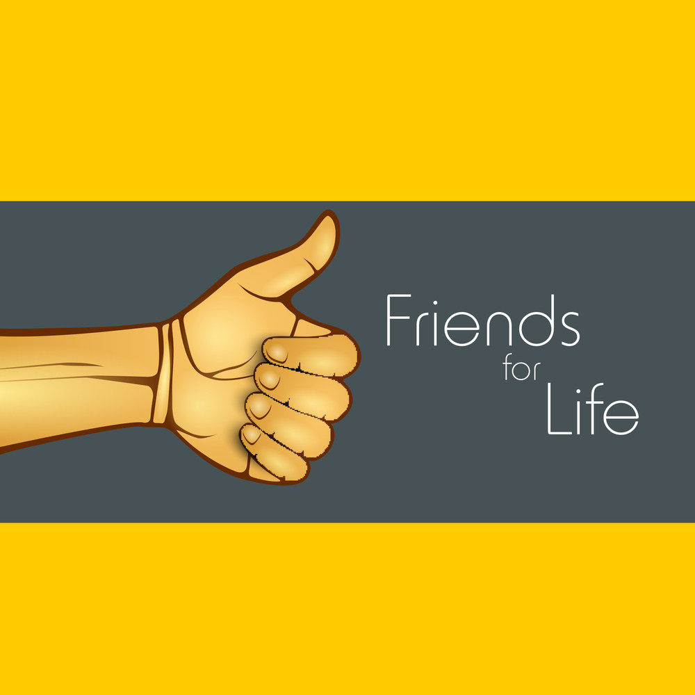 Happy Friendship Day Concept With Thubs Up On Yellow And Grey Background.