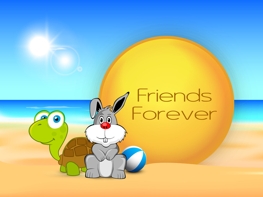 Happy Friendship Day Concept With Tortoise And Hare And Text  Friends Forever