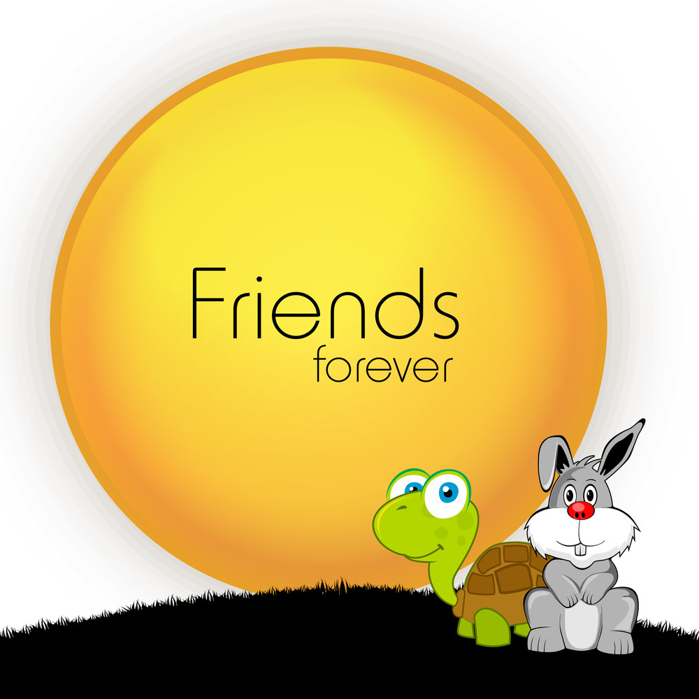Happy Friendship Day Concept With Tortoise And Hare On Grey Background