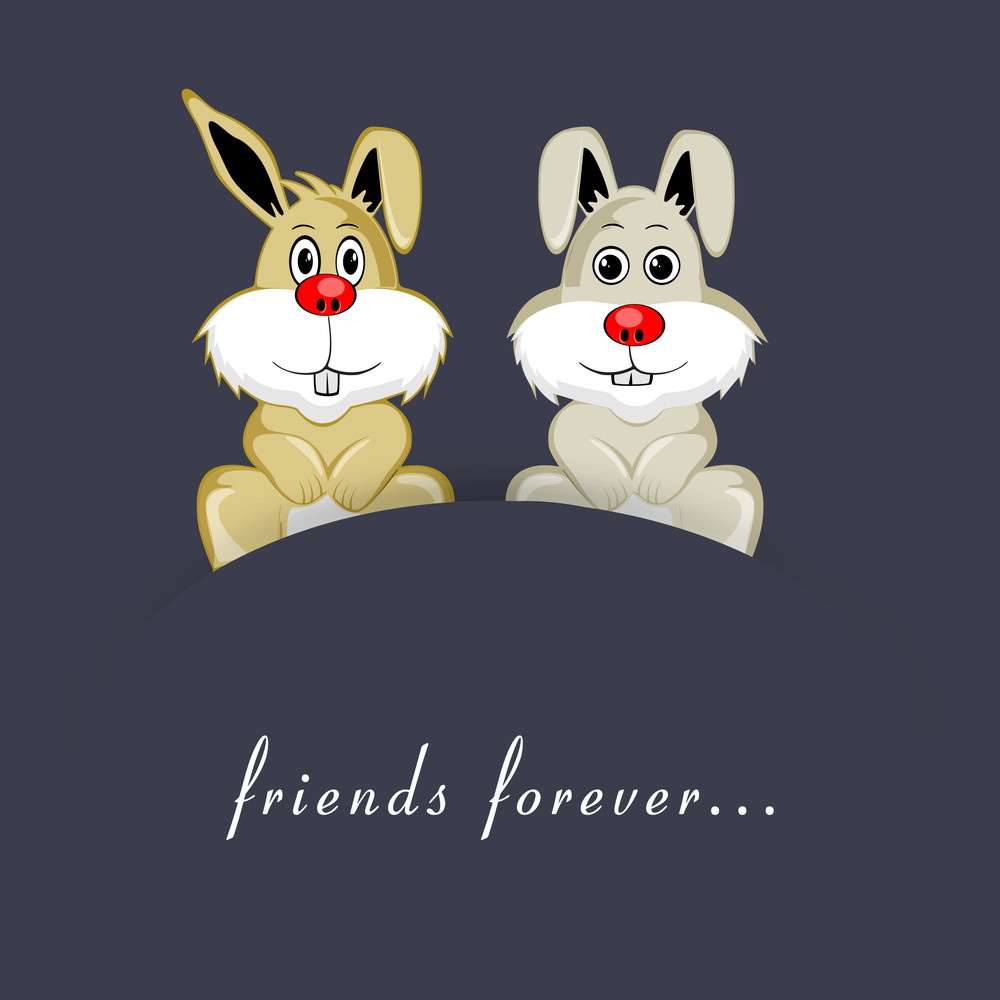 Happy Friendship Day Concept With Two Cute Bunny's And Text Friends Forever On Grey Background