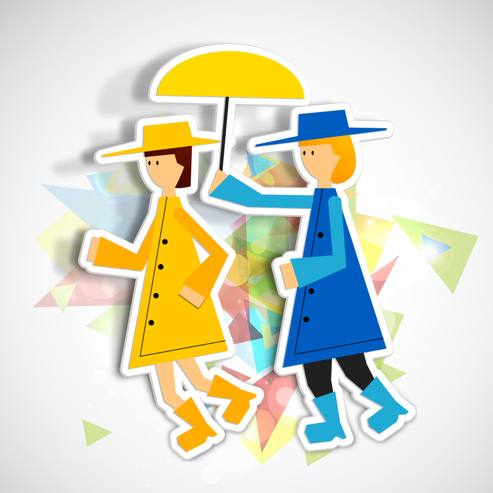 Happy Friendship Day Concept With Two Cute Girls Holding Umbrella On Colorful Abstract Background.
