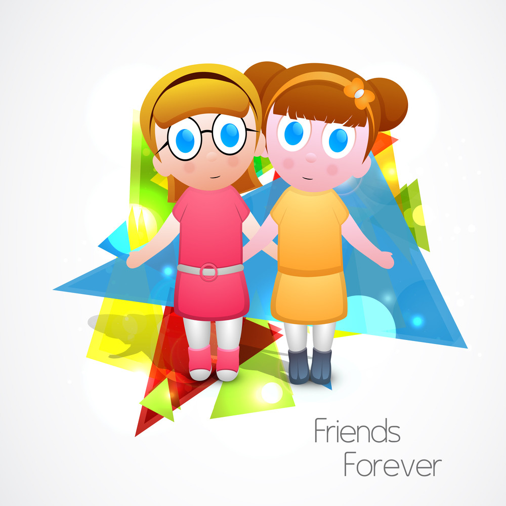 Happy Friendship Day Concept With Two Cutee Girls Joining Their Hands On Colorful Abstract Background.