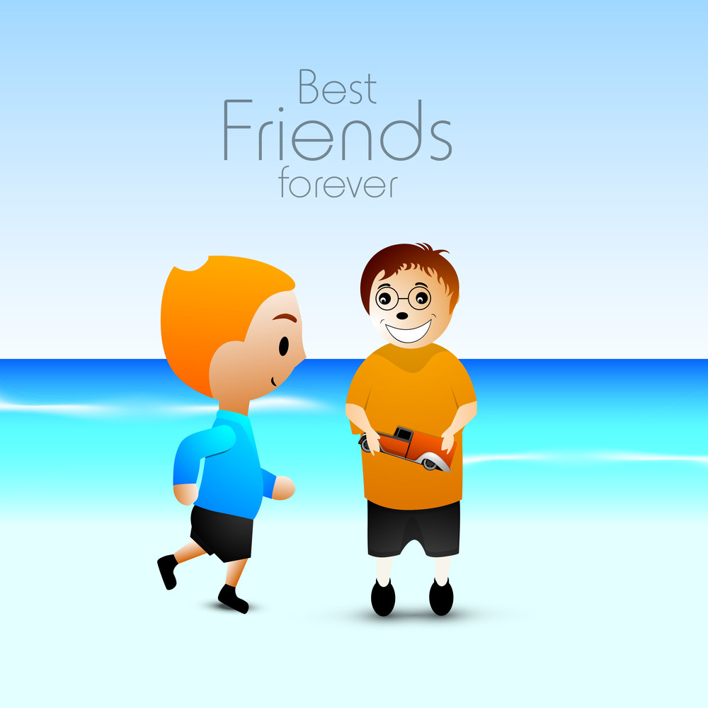 Happy Friendship Day Concept With Two Friends At Seaside.