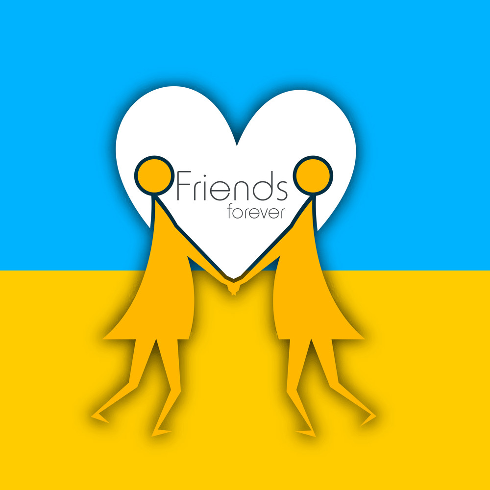 Happy Friendship Day Concept With Two Girls Joining Hands On Heart Shape Decorated Blue And Yellow Background.