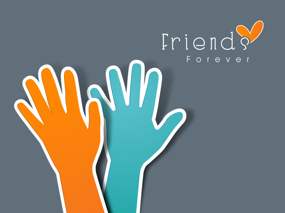 Happy Friendship Day Concept With Two Human Hands And Text Friends Forever