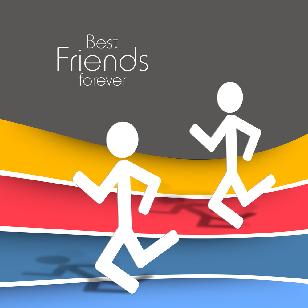 Happy Friendship Day Concept With  White Silhouette Of Friends On Colorful Background.