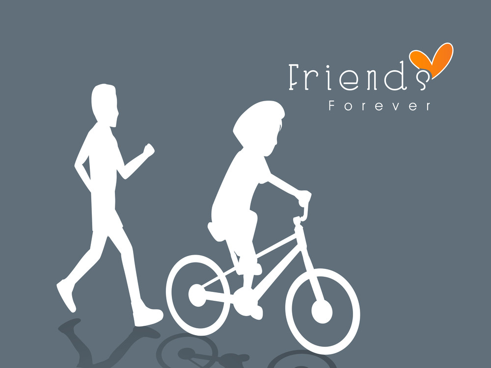 Happy Friendship Day Concept With White Silhouette Of Young Boys On Grey Background