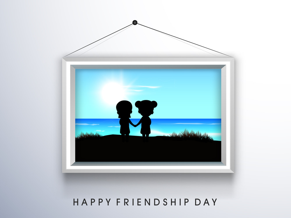 Happy Friendship Day Frame Or Poster On Grey Background