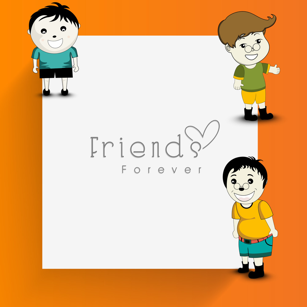 Happy Friendship Day Greeting With Group Of Three Friends And Text Friends Forever