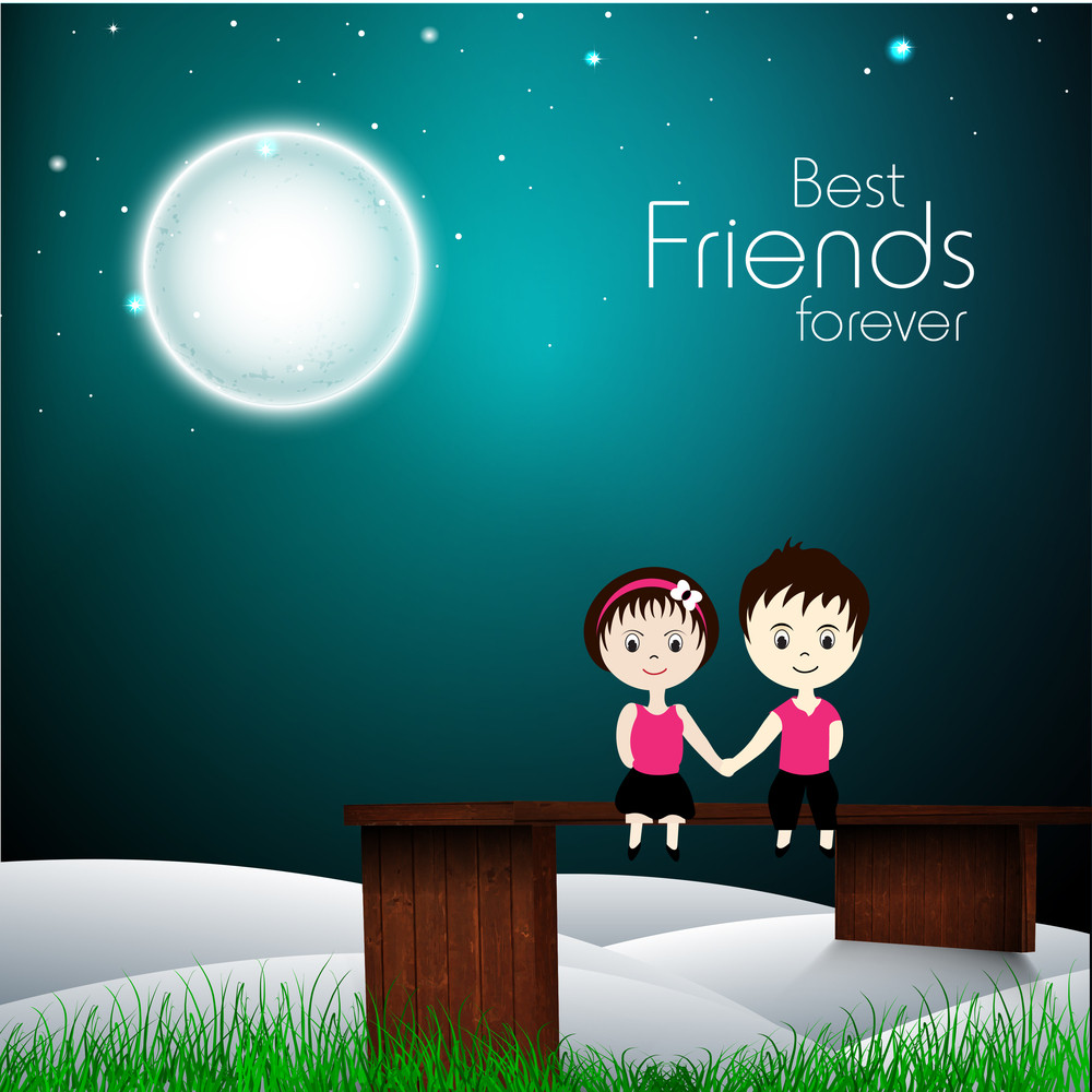 Happy Friendship Day Illustration With Cute Friends Holding Hands In The Night.