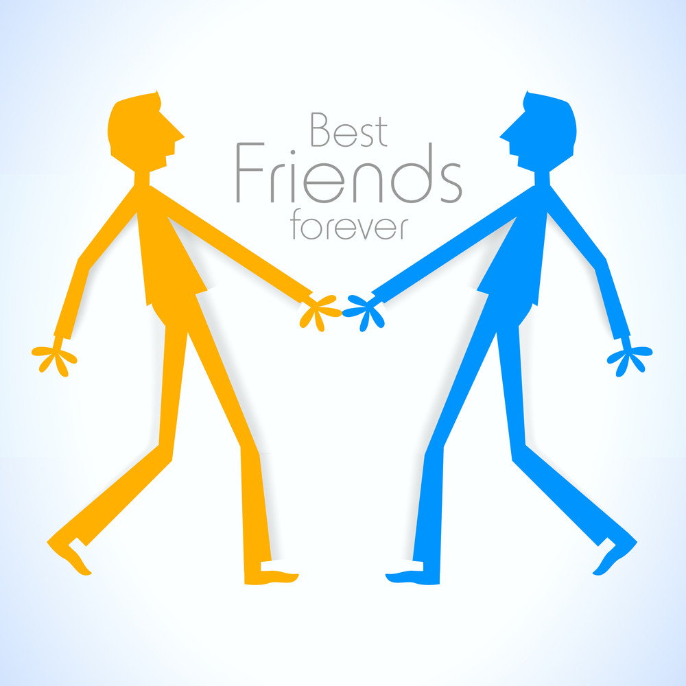 Happy Friendship Day With Colorful Silhouette Of Friends On Blue Background.