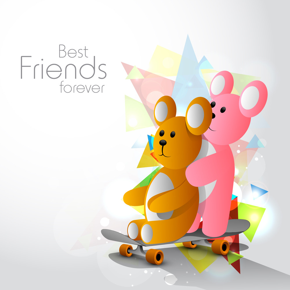 Happy Friendship Day With Cute Teddy Bears On Colorful Decorated Grey Background.
