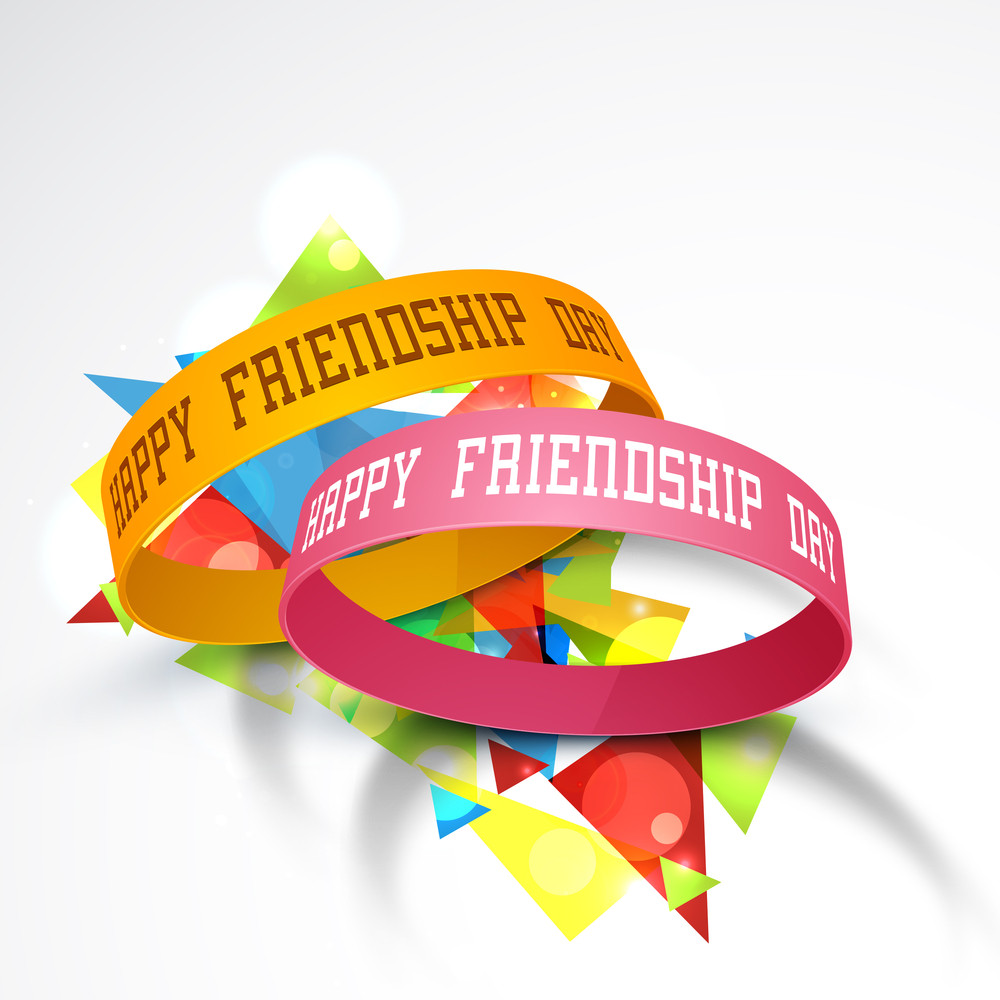 Happy Friendship Day With Friendship Band On Colorful Grey Background.
