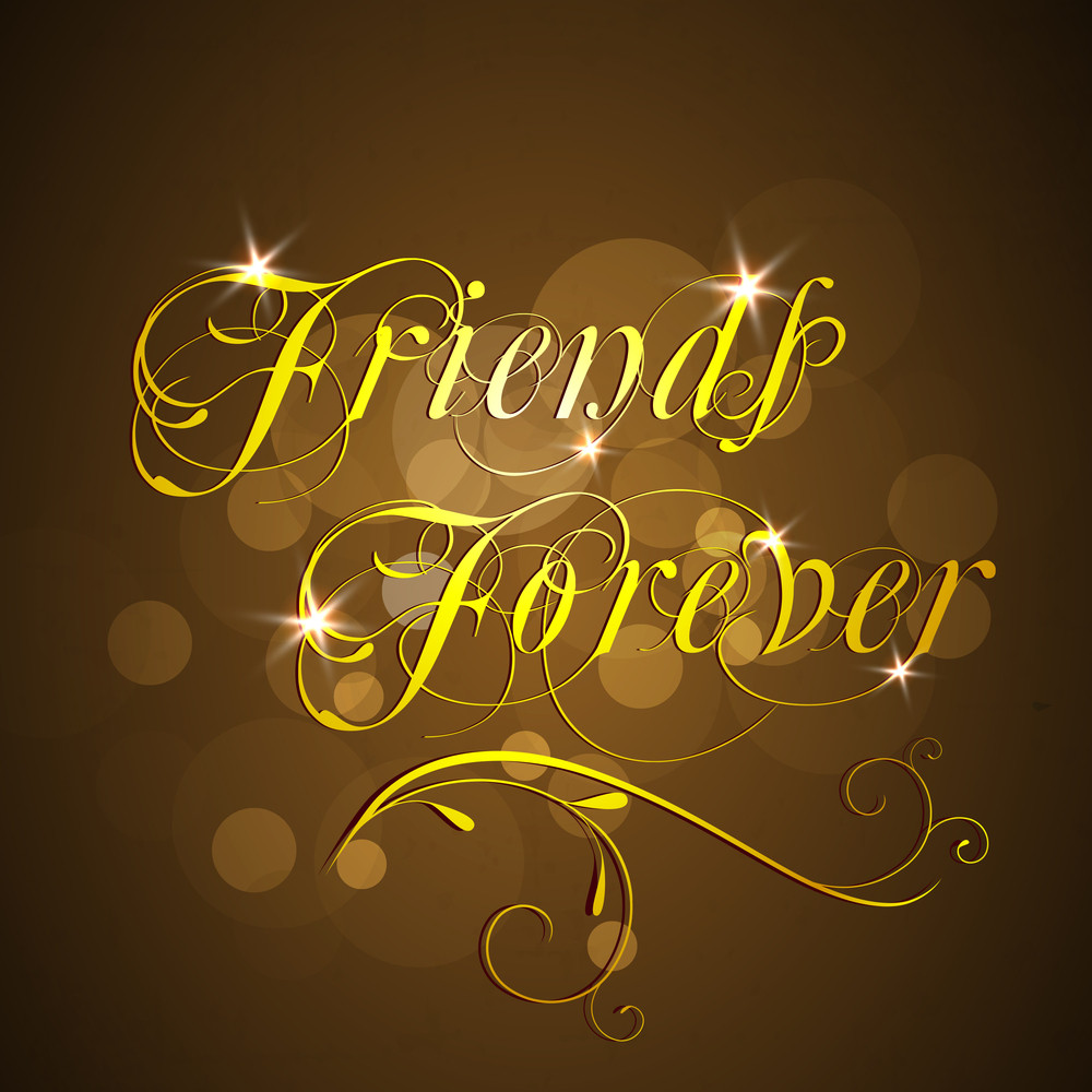 Happy Friendship Day With Golden Text Friends Forever On Brown Background.