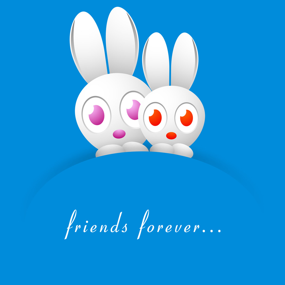 Happy Friendship Day With Rabbits On Blue Background.