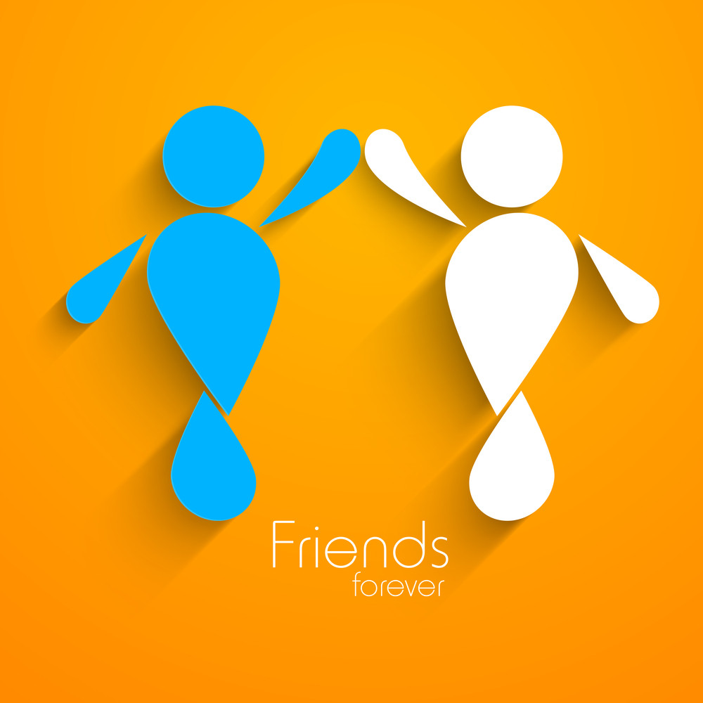 Happy Friendship Day With Two Frineds Joining Their Hands On Orange Background.l