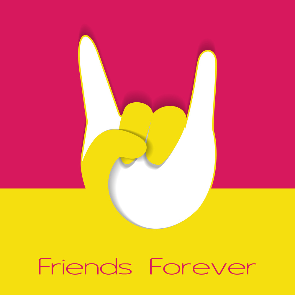 Happy Friendship Dayconcept With Human Hand In Winning Poistion On Pink And Yellow Background.