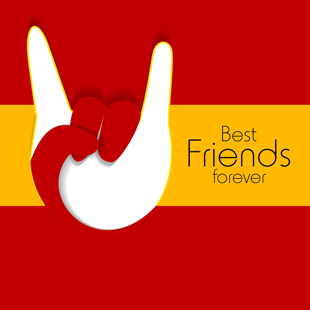 Happy Friendship Dayconcept With Human Hand In Winning Poistion On Red And Yellow Background.