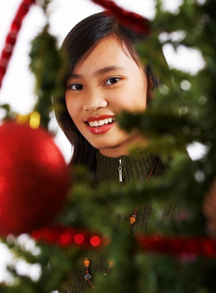 Happy Girl Celebrating Christmas