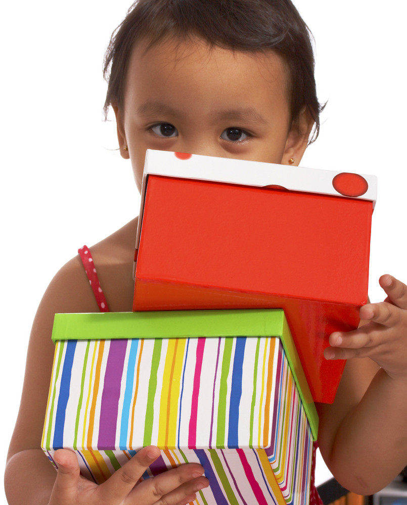 Happy Girl Receiving Gifts
