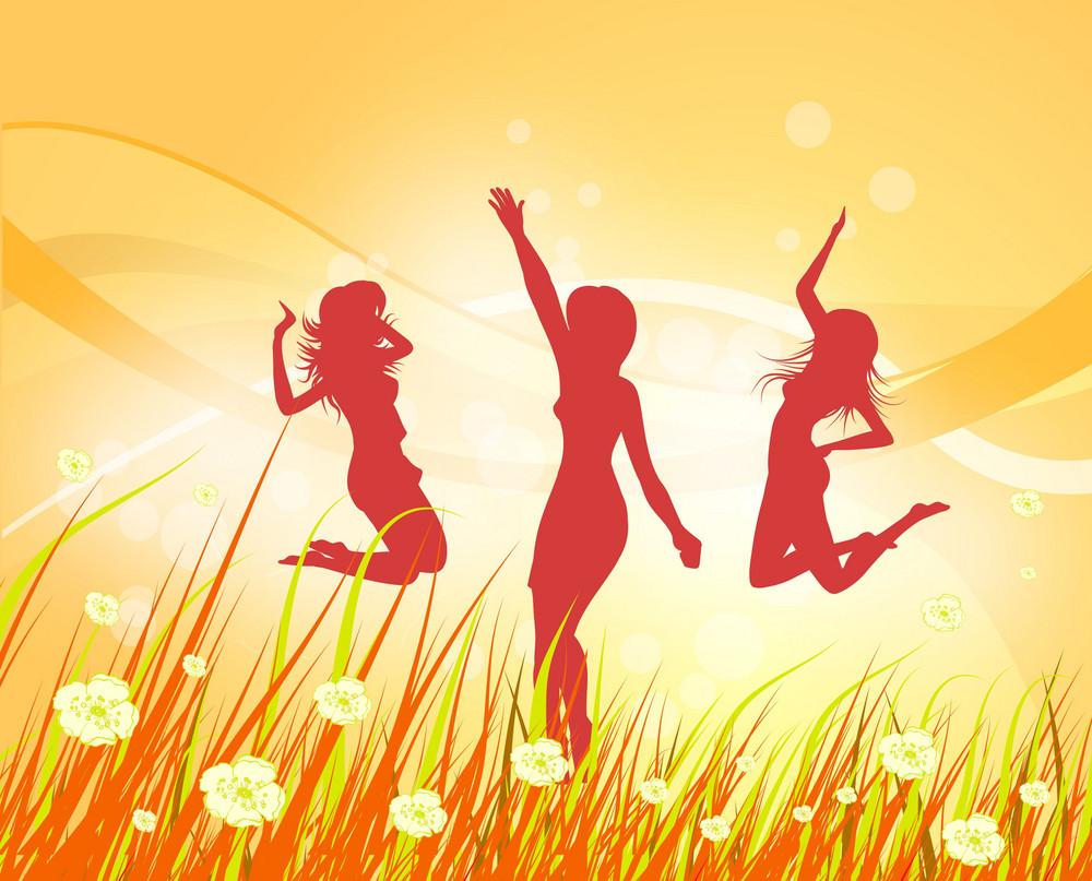 Happy Girls Vector Illustration