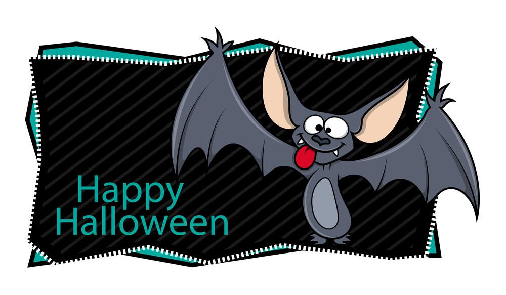 Happy Halloween Banner Along With Cartoon Bat
