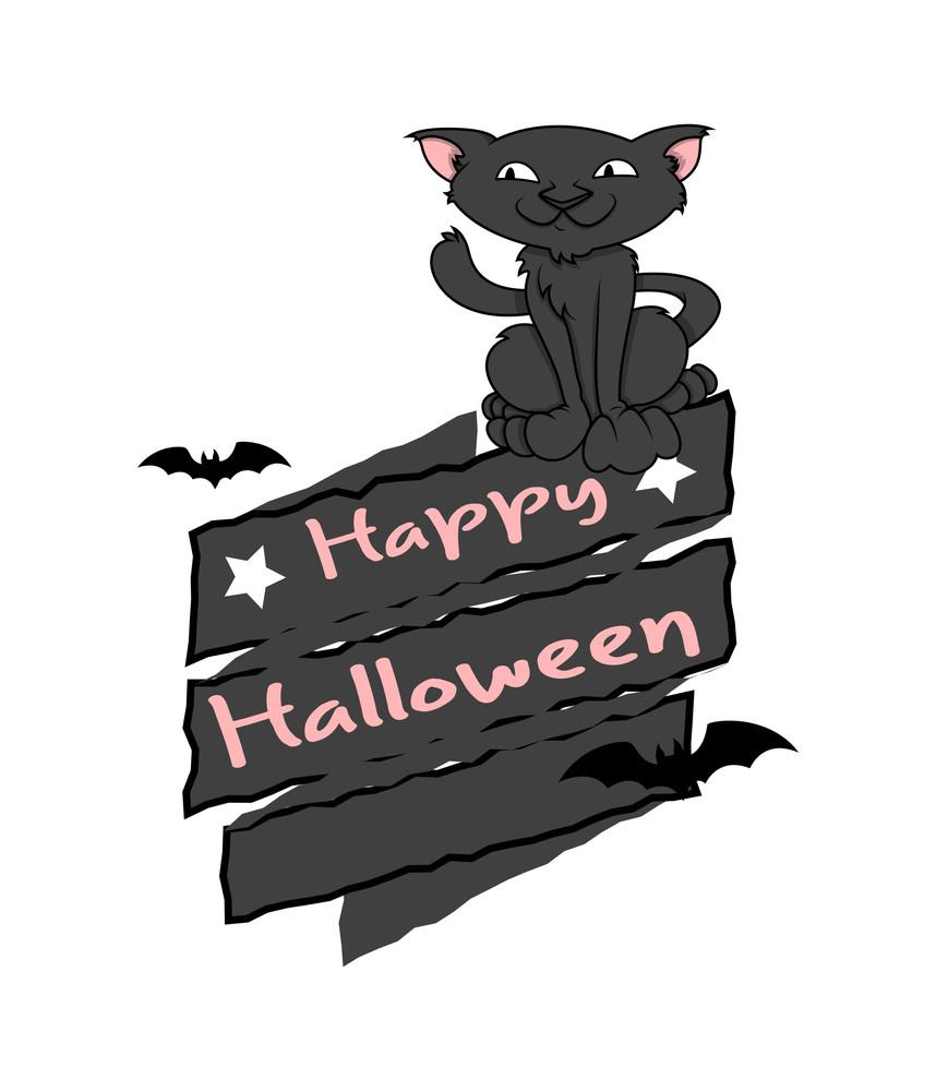 Happy Halloween Cat Vector Graphic Royalty-Free Stock Image ...