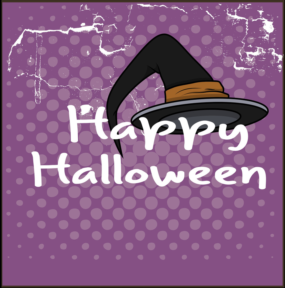 Happy Halloween Witch Hat Vector