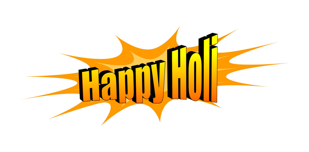 Happy Holi Text Banner