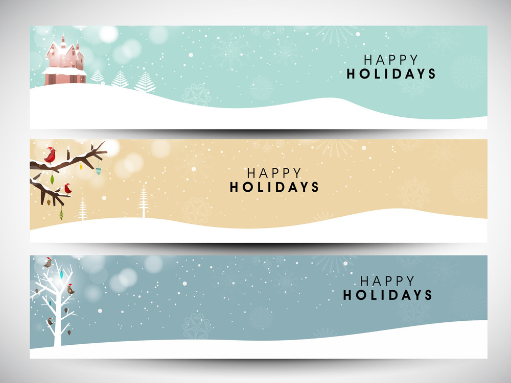 happy holidays website headers or banners royalty free stock image
