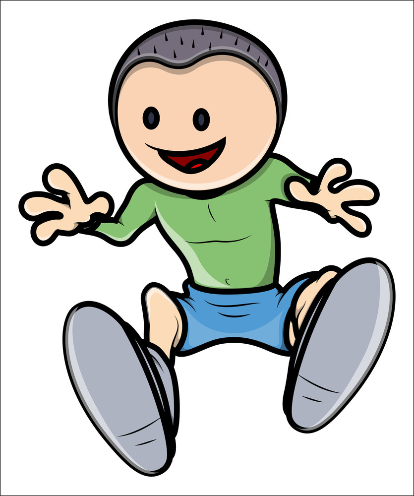 Happy Kid - Vector Cartoon Illustration