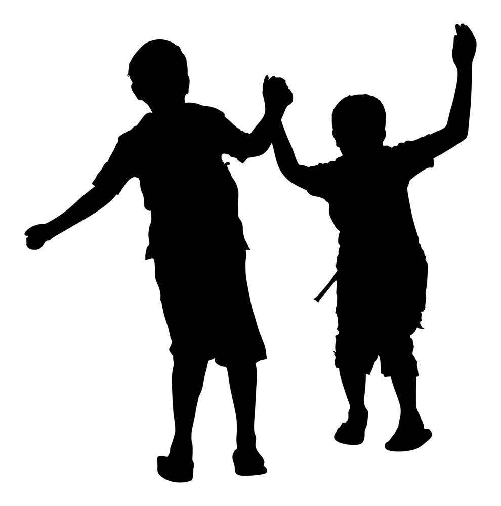 Happy Kids Playing Silhouette