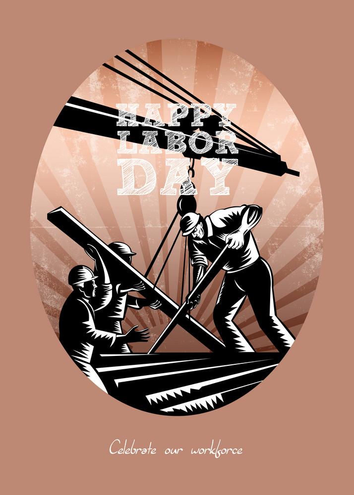 Happy Labor Day Celebration Retro Greeting Card