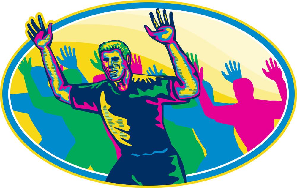 Happy Marathon Runner Running Oval Retro