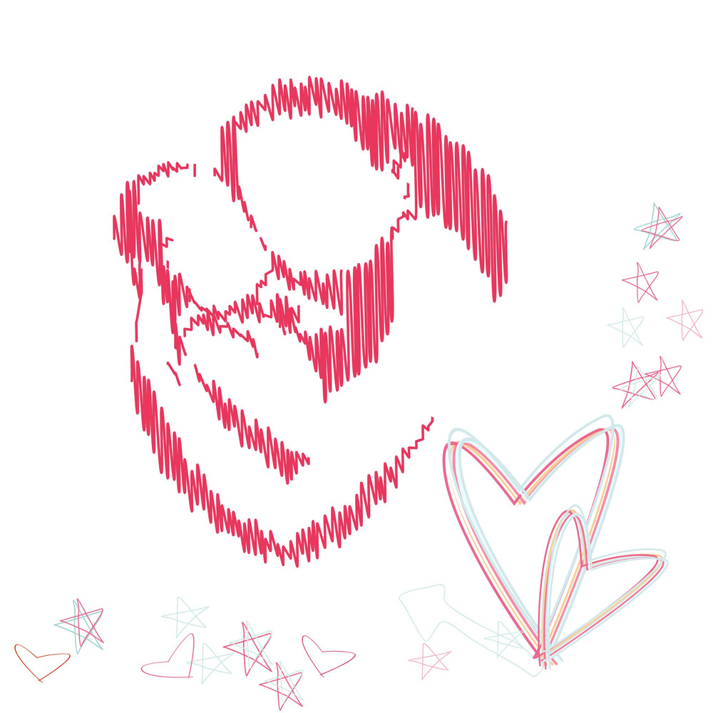 Happy Mothers Day Background With Pink Sketch Of A Mother Her Child