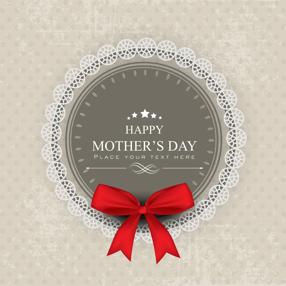 Happy Mothers Day Background With Red Ribbon