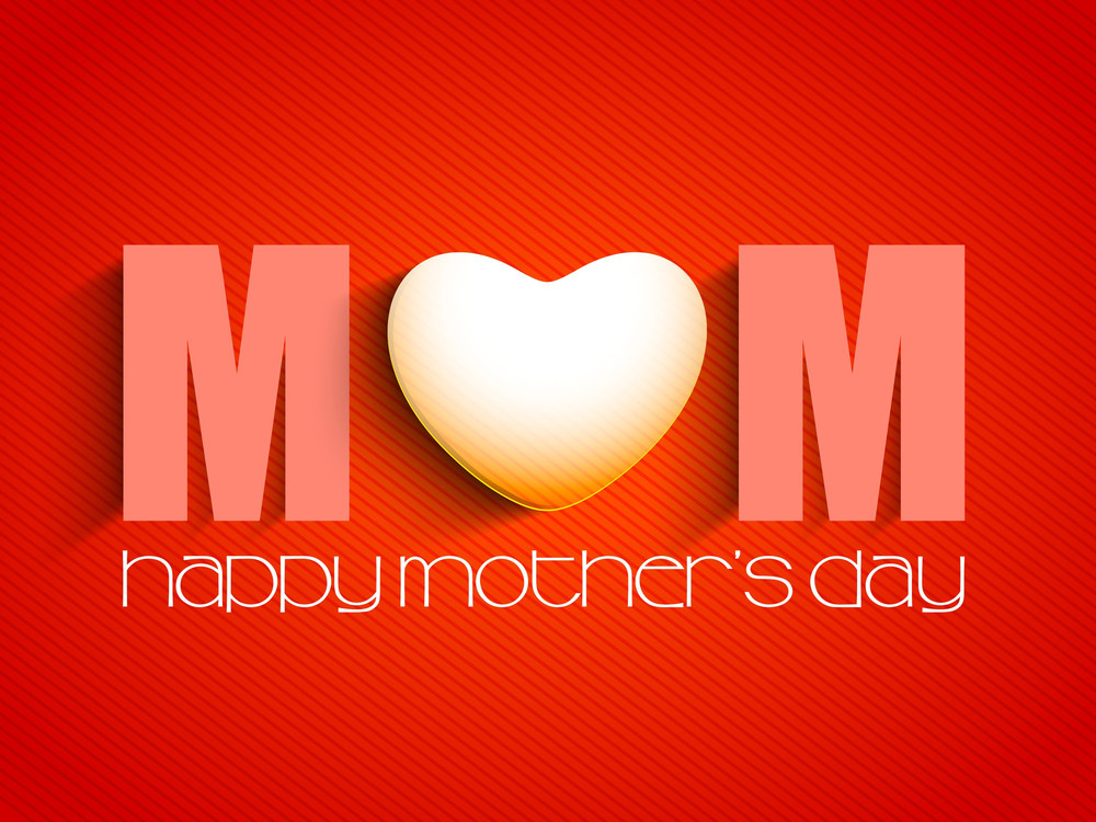 Happy Mothers Day Concept With Text Mom On Red Background