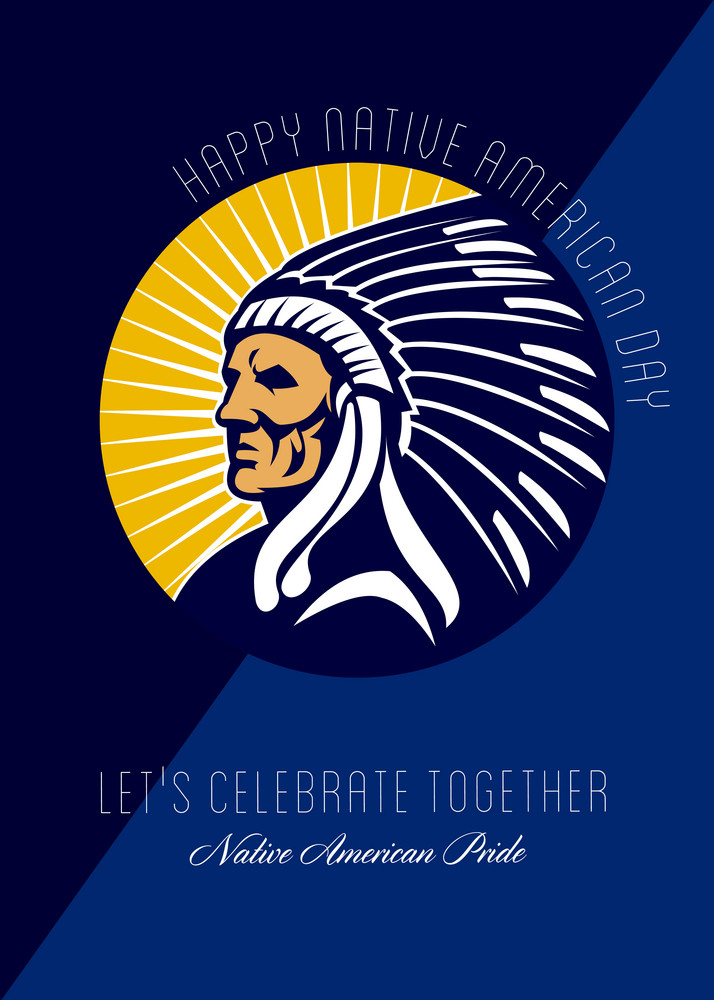 Happy Native American Day Retro Poster Card