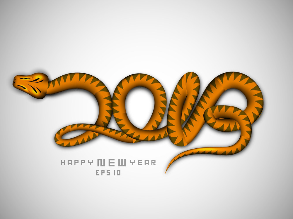 Happy New Year 2013 With Snake Design Royalty-Free Stock