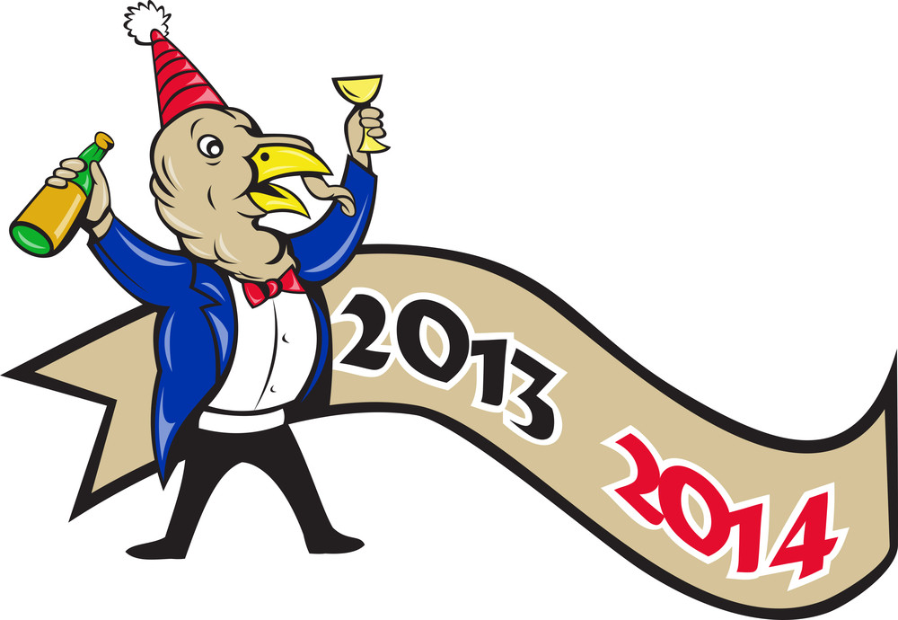 Happy New Year 2014 Turkey Toasting Wine Cartoon