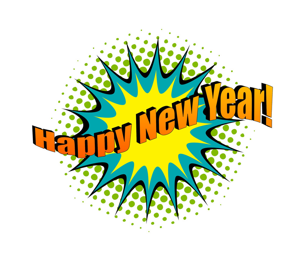 Happy New Year Retro Text Banner