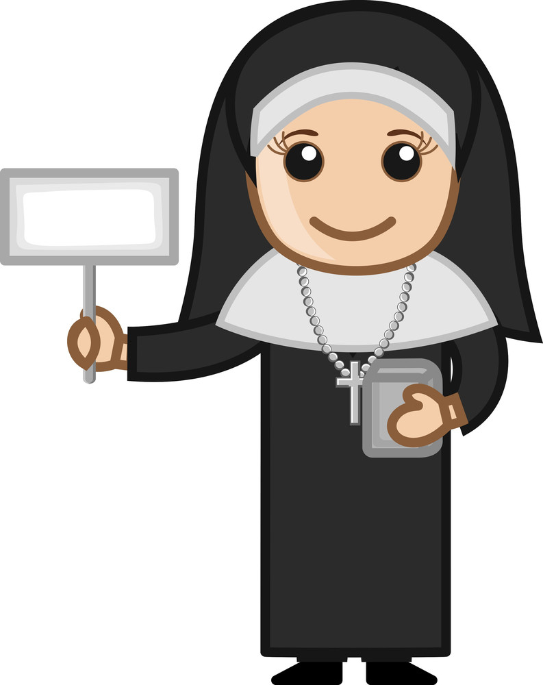 Happy Nun Showing Blank Banner