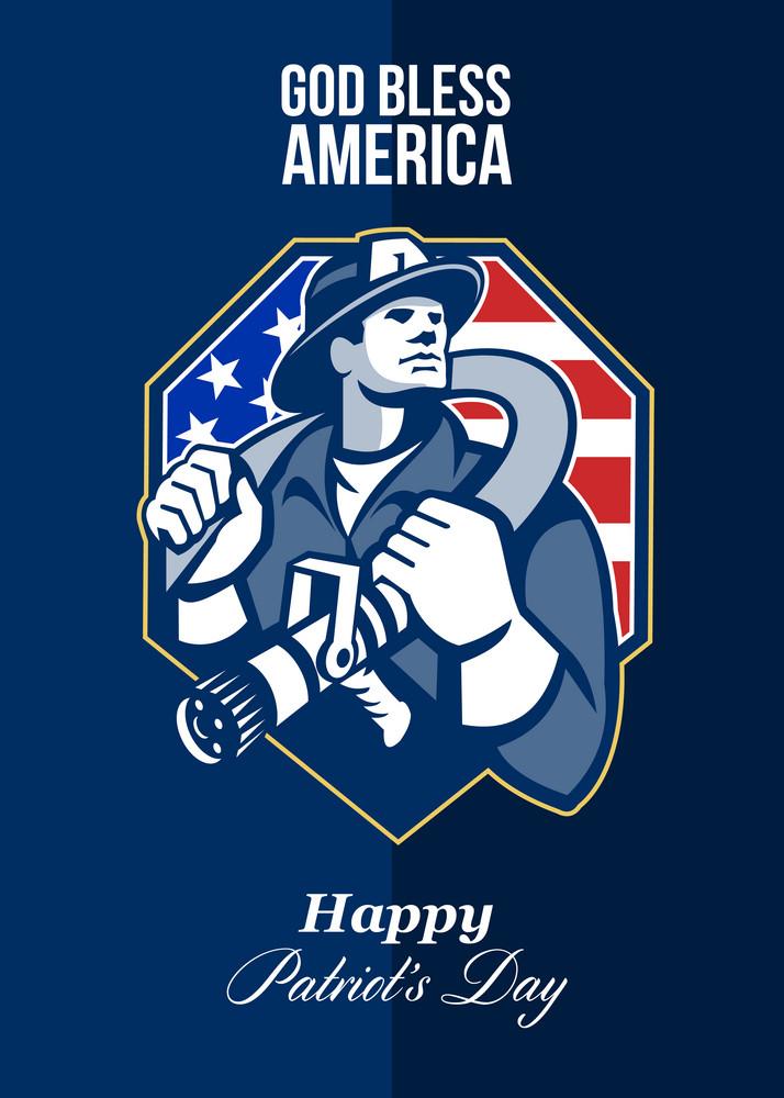 Happy Patriots Day God Bless America Retro